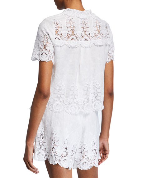 Miguelina Darlene Linen Button-Front Lace Crop Top