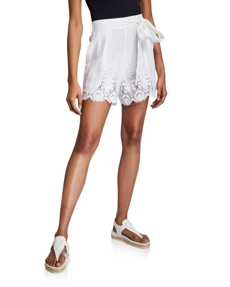 Miguelina Liana High-Waist Linen Shorts w/ Lace