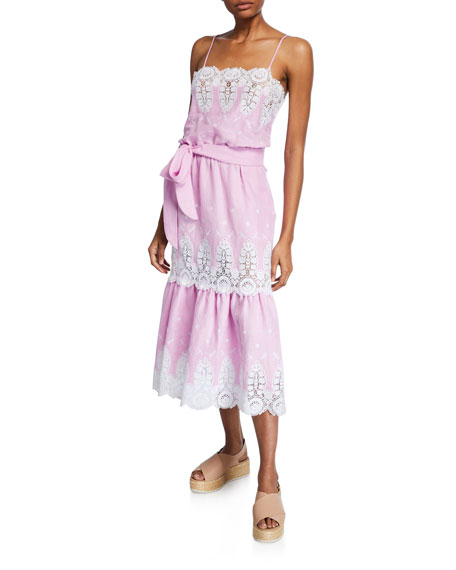 Miguelina Esme Embroidered Lace Tiered Midi Dress