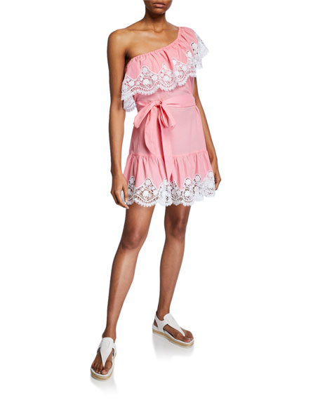 Miguelina Summer One-Shoulder Cotton Mini Dress w/ Lace