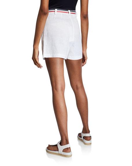 Miguelina Joone Belted High-Waist Linen Shorts