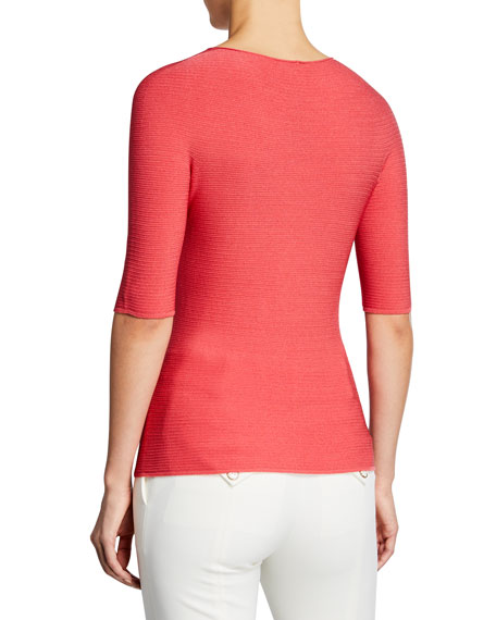 Giorgio Armani Half-Sleeve Ribbed Top