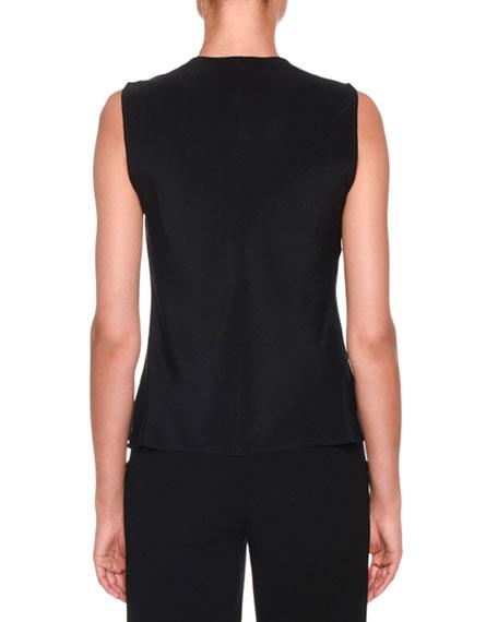 Giorgio Armani Sleeveless Silk Blouse with Detachable Ribbon Trim