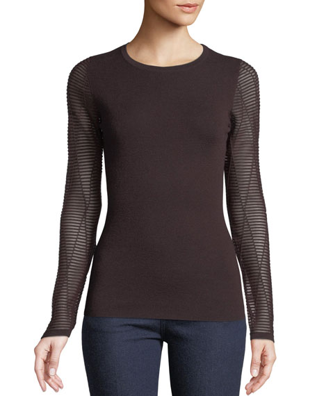 Neiman Marcus Cashmere Collection Cashmere Ottoman-Stitch Sweater