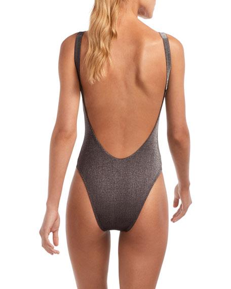 Vitamin A Leah Metallic High-Leg One-Piece Swimsuit
