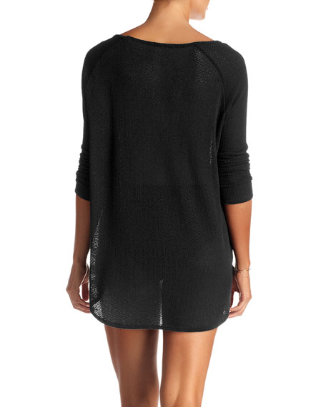 Vitamin A Drifter Beach Sweater Coverup, Black