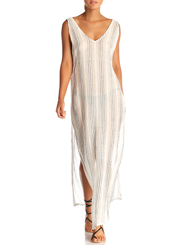 Tradewind Long Textured-Strip Coverup