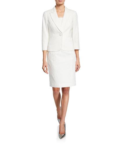 Two-Piece Floral Sheath Dress & 3/4-Sleeve Jacket Set