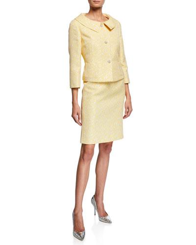 Floral Metallic Jacquard Two-Piece Jacket & Skirt Set