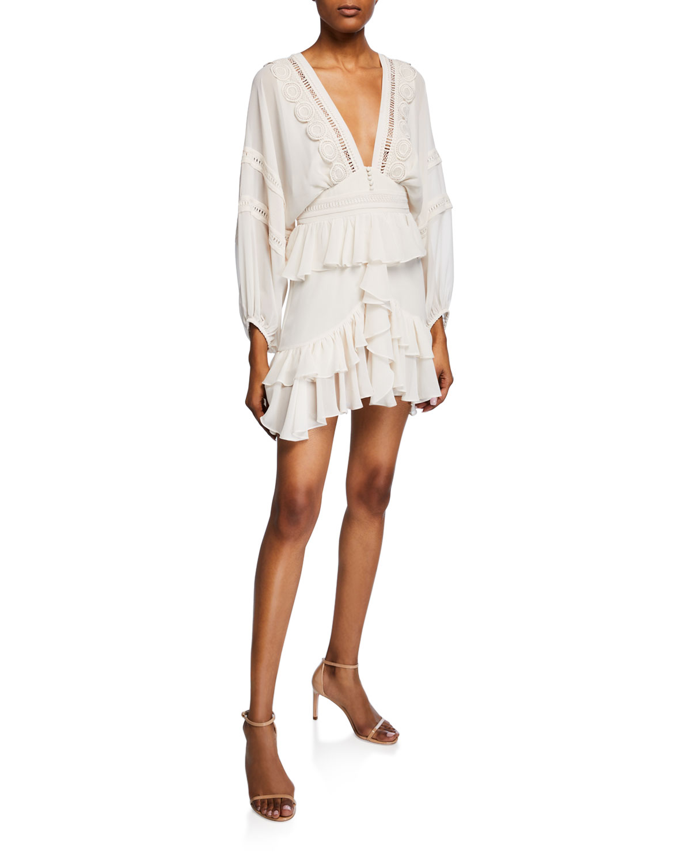 Rafaella Plunge Neck Long Sleeve Frill Mini Dress by Shona Joy