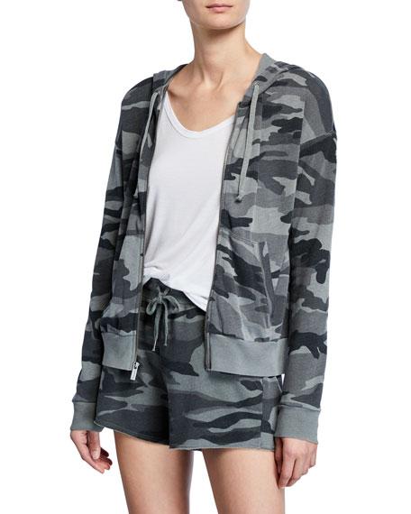 Splendid Essential Active Camo Zip-Front Hooded Track Jacket