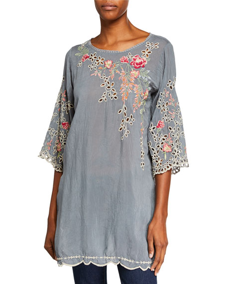 Johnny Was Belina Floral-Embroidered Georgette Tunic w/ Eyelet