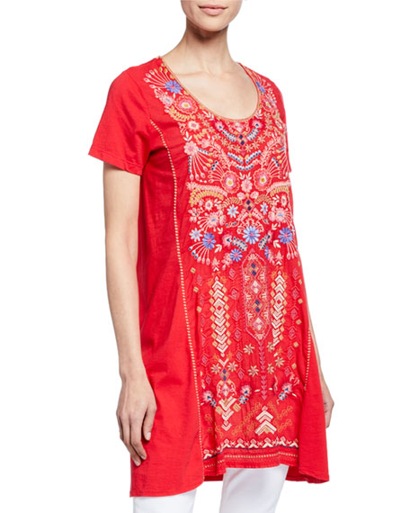 Johnny Was Frederique Embroidered Short-Sleeve Panel Knit Mix
