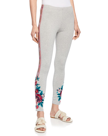 Johnny Was Annaliesse Floral-Embroidered Leggings