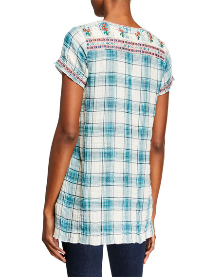 Johnny Was Juliene Estelle Plaid V-Neck Short-Sleeve Top