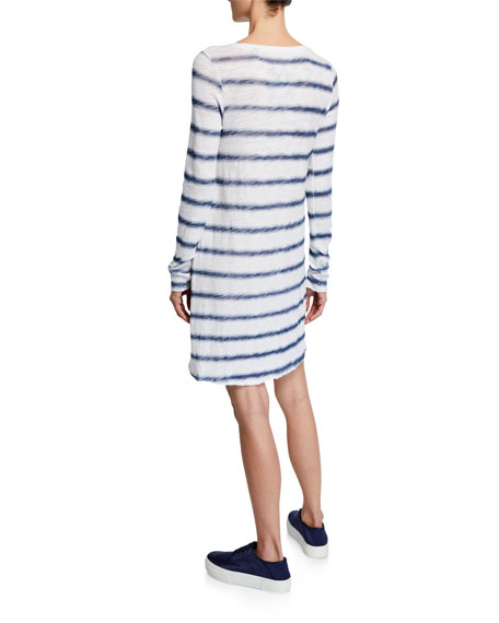 ATM Anthony Thomas Melillo Watermark Stripe Long-Sleeve Slub Jersey Dress