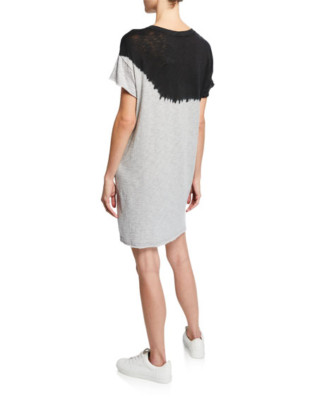ATM Anthony Thomas Melillo Dip-Dye Short-Sleeve Slub Jersey Cotton Dress