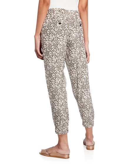 ATM Anthony Thomas Melillo Lunar Leopard-Print Cropped Silk Sweatpants