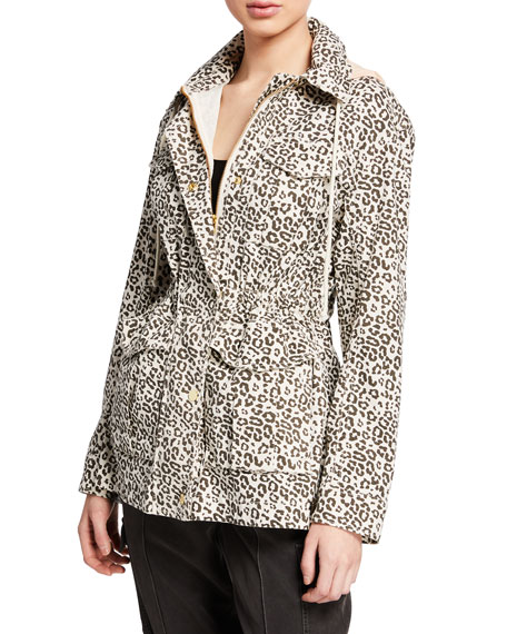 ATM Anthony Thomas Melillo Lunar Leopard Zip-Front Field Jacket with Stowaway Hood