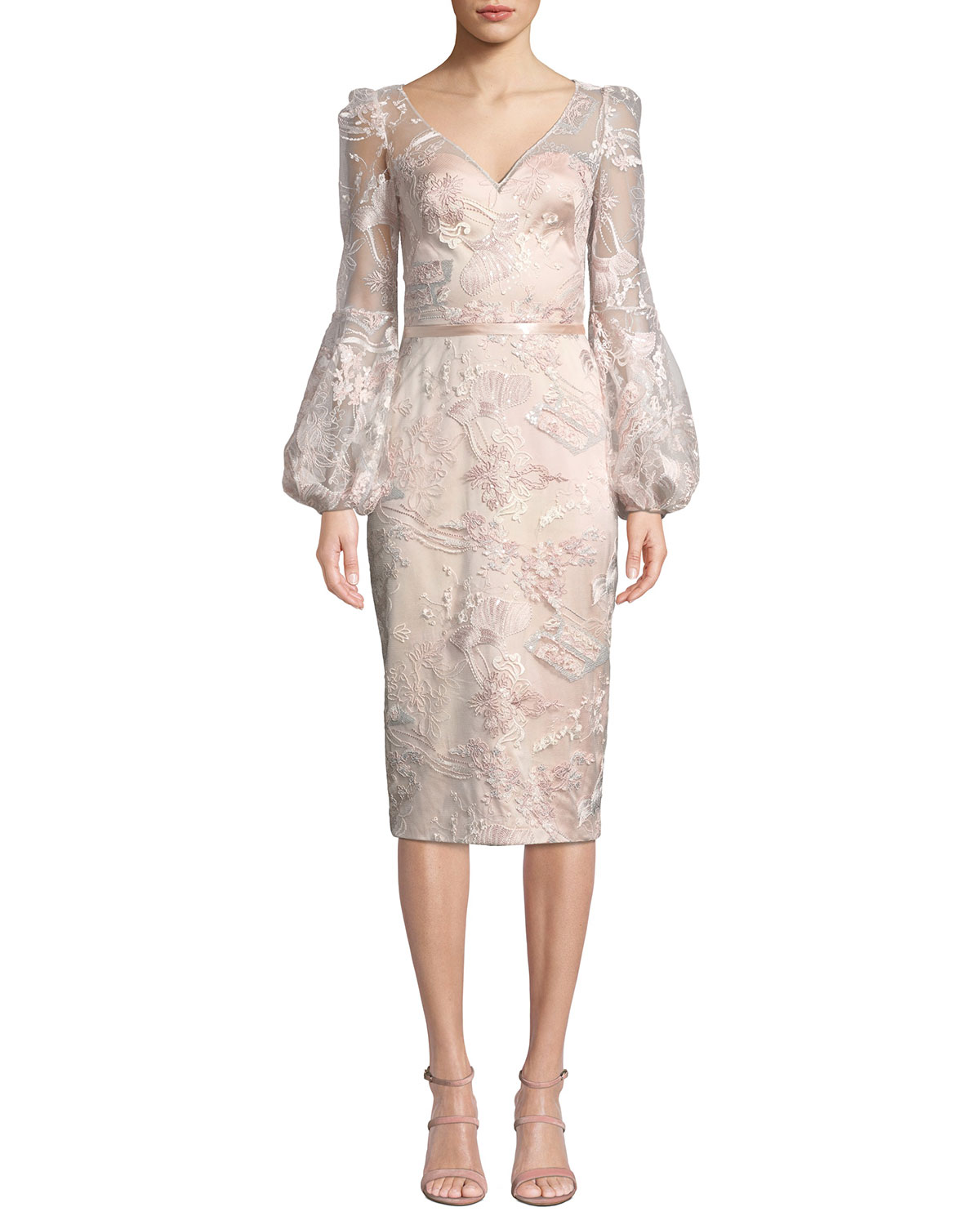 Theia V-Neck Lantern-Sleeve Sequin Embroidered Lace Illusion Dress ... c116a5901