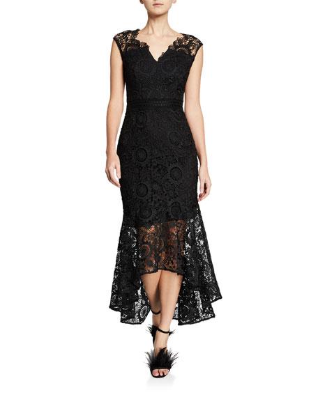 Shoshanna Regina Patterned Lace Cap-Sleeve High-Low Illusion Dress