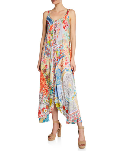 Kara Mixed-Print Scoop-Neck Sleeveless Dress w/ Slip
