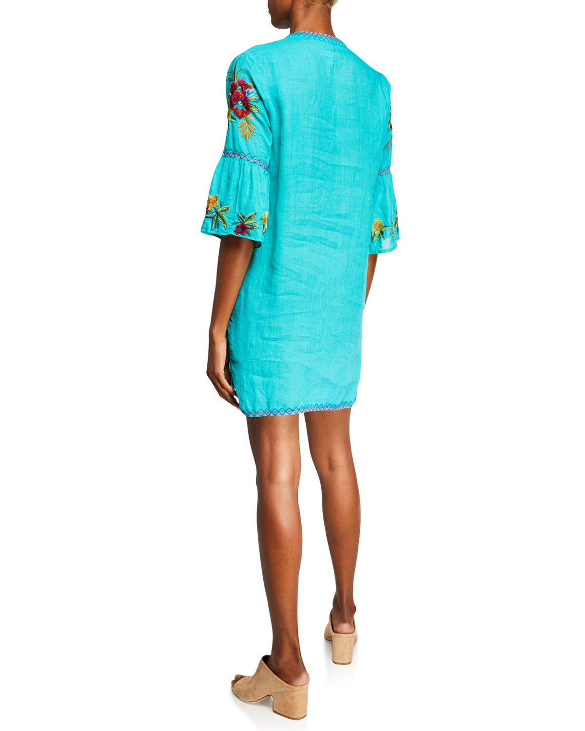 af7ebefd949 Johnny Was Plus Size Nandi Flare-Sleeve Floral-Embroidered Linen Tunic  Dress | Neiman Marcus
