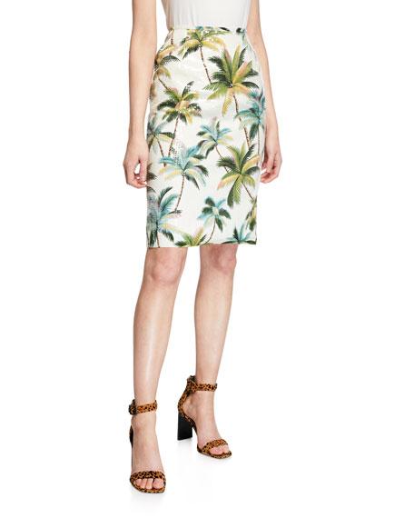 Le Superbe Hawaiian Shine Sequin Palm-Tree Pencil Skirt