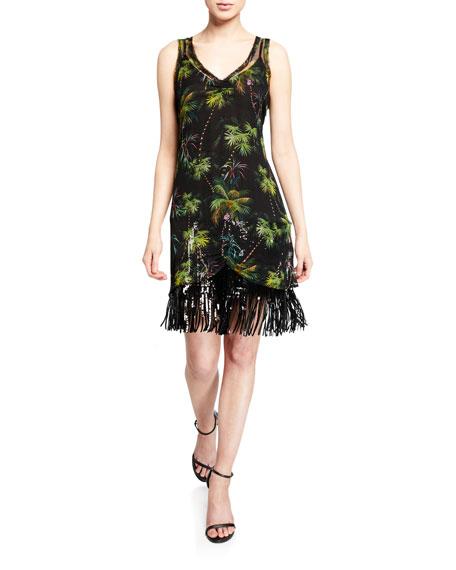 Le Superbe Frolic Room Palm Trim Printed Sequin Fringe Dress