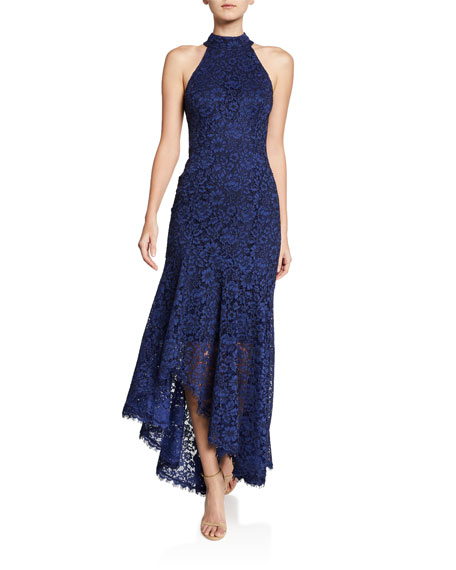 Shoshanna Grazie Floral-Lace Halter-Neck High-Low Dress