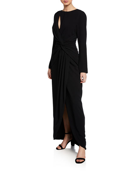 Dress The Population Naomi Long-Sleeve Knotted Front Gown