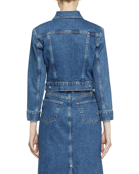 Proenza Schouler PSWL Two-Tone Cropped Denim Jacket