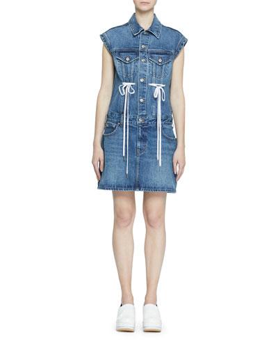 Button-Down Sleeveless Rigid Denim Dress w/ Drawstring Detail