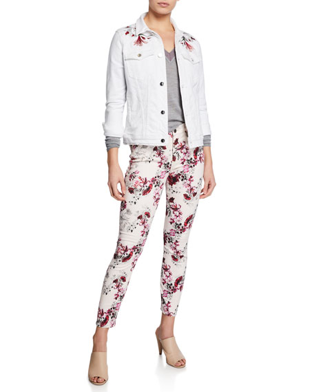 Jen7 by 7 for All Mankind Floral-Print Mid-Rise Skinny Ankle Jeans