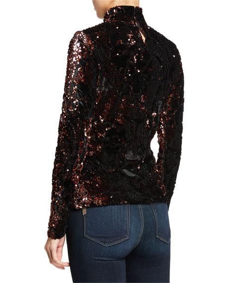 Milly Velvet Sequin Long-Sleeve Turtleneck Top