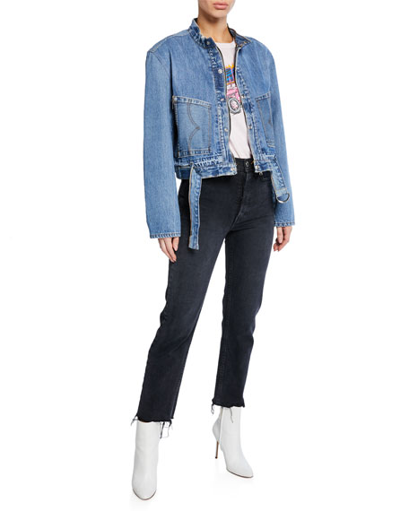 RE/DONE High-Rise Stovepipe Cropped Jeans
