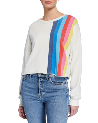 Striped Raw-Edge Crewneck Sweatshirt