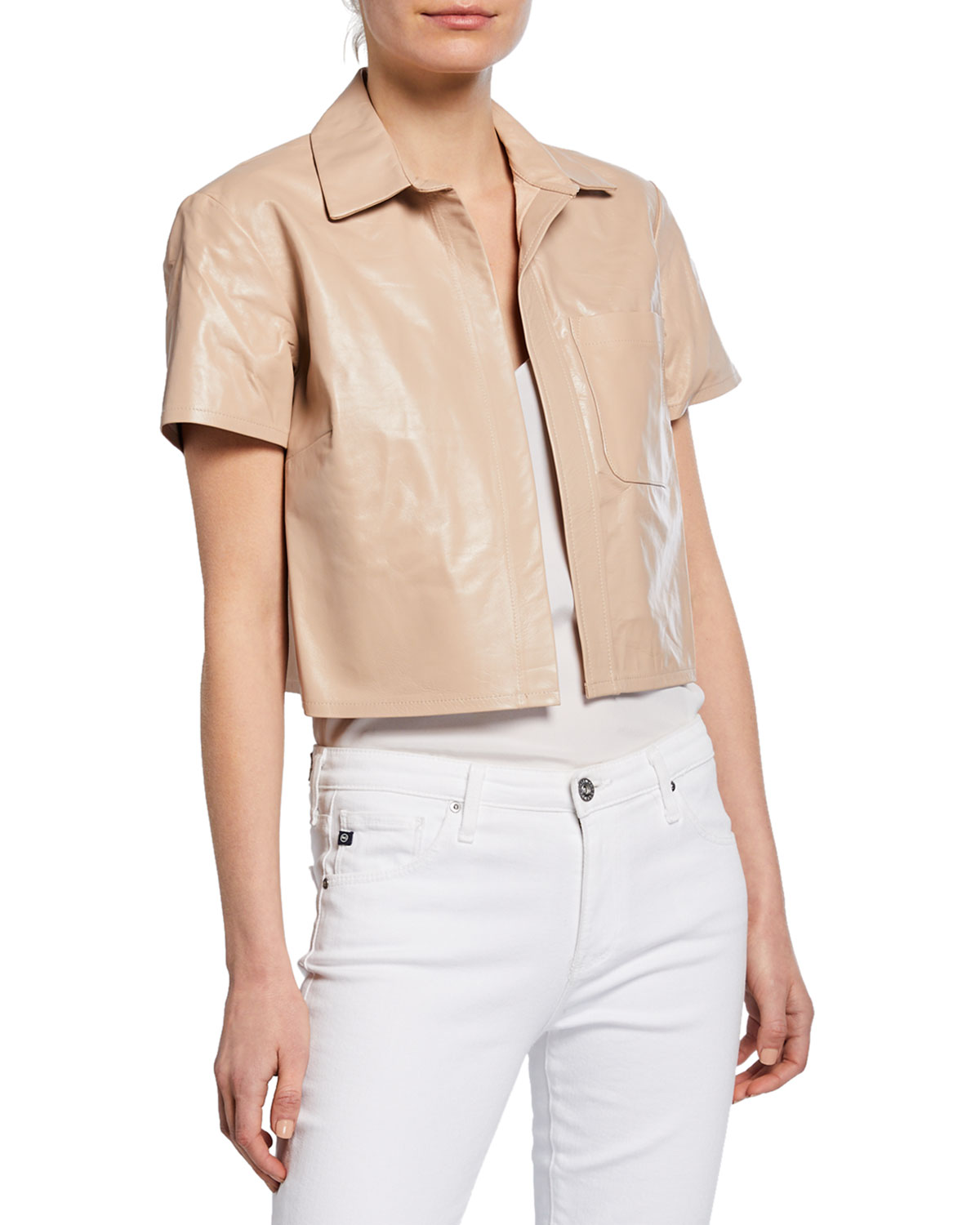 Sablyn Kennedy Cropped Leather Short-Sleeve Jacket ...