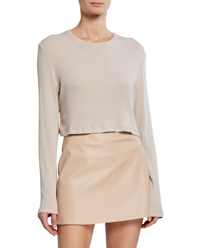 Serafina Long-Sleeve Cropped Rib Top
