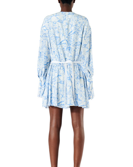 Tibi Isa Toile Drawstring Crepe De Chine Dress