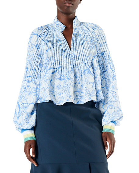 Tibi Isa Toile Pleated Cropped Blouse with Ribbed Cuffs