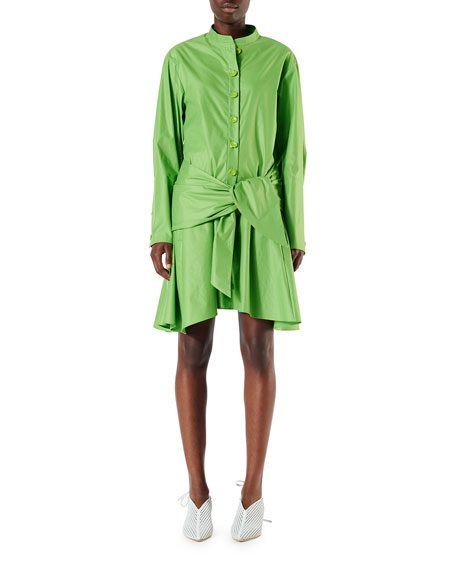 Tibi Glossy Plainweave Short Shirtdress with Waist Tie