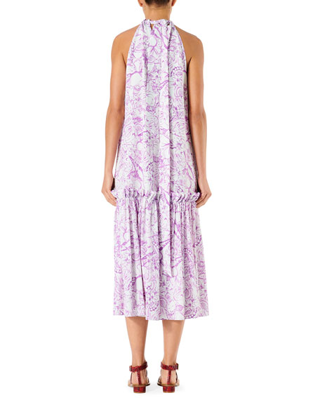 Tibi Isa Toile Sleeveless Tie-Neck Dress
