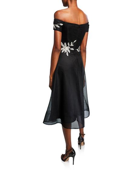 Rickie Freeman for Teri Jon Leaf-Embellished Off-the-Shoulder Full-Skirt Neoprene Dress