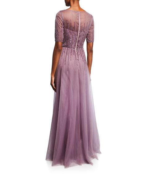 Rickie Freeman for Teri Jon Beaded V-Neck Short-Sleeve Tulle Gown