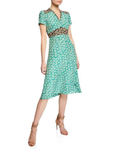 Morgan Daisy-Print Silk V-Neck Dress