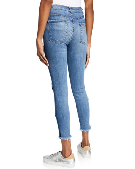 7 For All Mankind High-Rise Cropped Skinny Jeans w/ Heart Patches