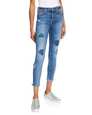 ccca91d73 7 for all mankind High-Rise Cropped Skinny Jeans w  Heart Patches