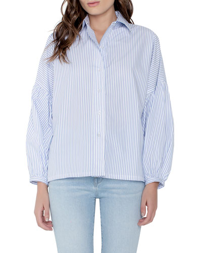 Braxton Striped Button-Down Long-Sleeve Blouse