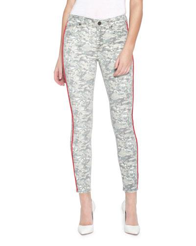 Ava Printed Skinny Jeans w/ Side Stripes